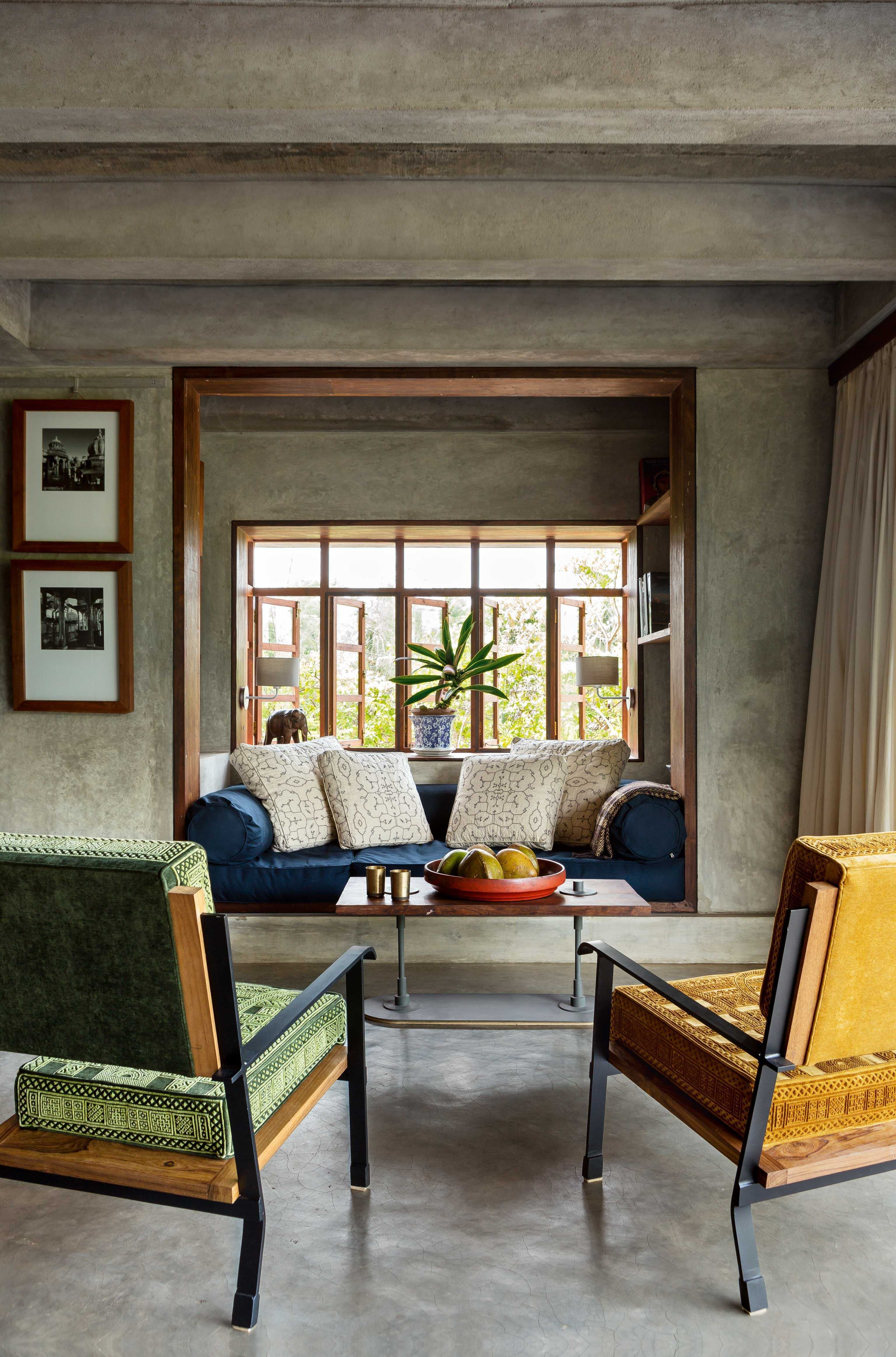 The crispness of concrete finishing along with warm fabrics give this space  perfect summer look also pin by jaya  on home design indian style pinterest rh