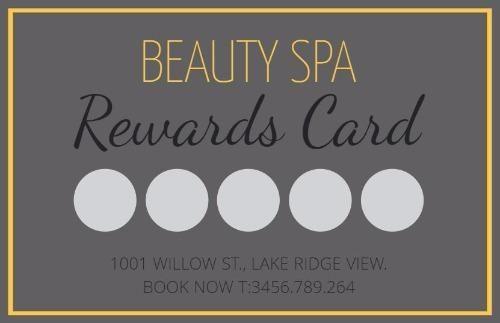 Grey And Yellow Spa Loyalty Rewards Card Click To Edit In Designwizard Loyalty Card Program Loyalty Card Design Loyalty Card
