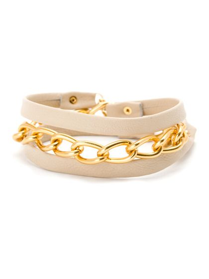 Gold Graham Chain & Bone Leather Wrap Bracelet by Gorjana on Gilt.com  - Would probably look better on a tan person, but I can dream...