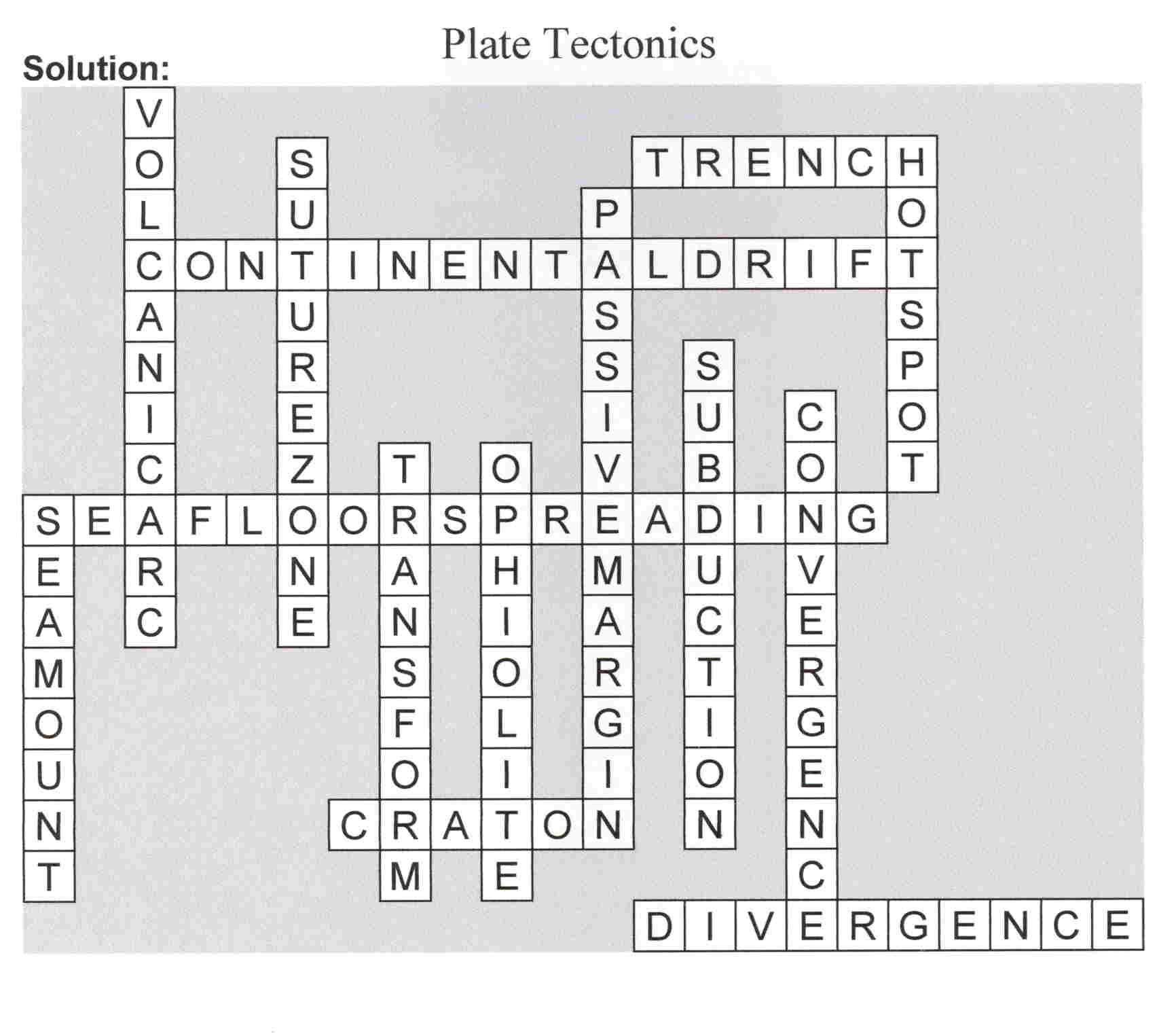 Awesome plate tectonics crossword puzzle – Plate Boundaries Worksheet Answers