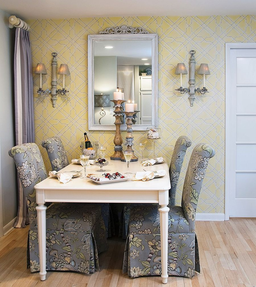 Traditional Yellow And Gray Dining Room With Custom Chairs That Steal The Show