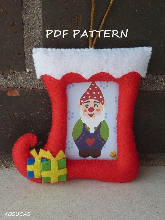PDF pattern to make a felt Christmas frames | Marcos de navidad ...