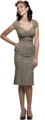SALE! Stop Staring 40's Style Brown Heather Plaid Wiggle Dress