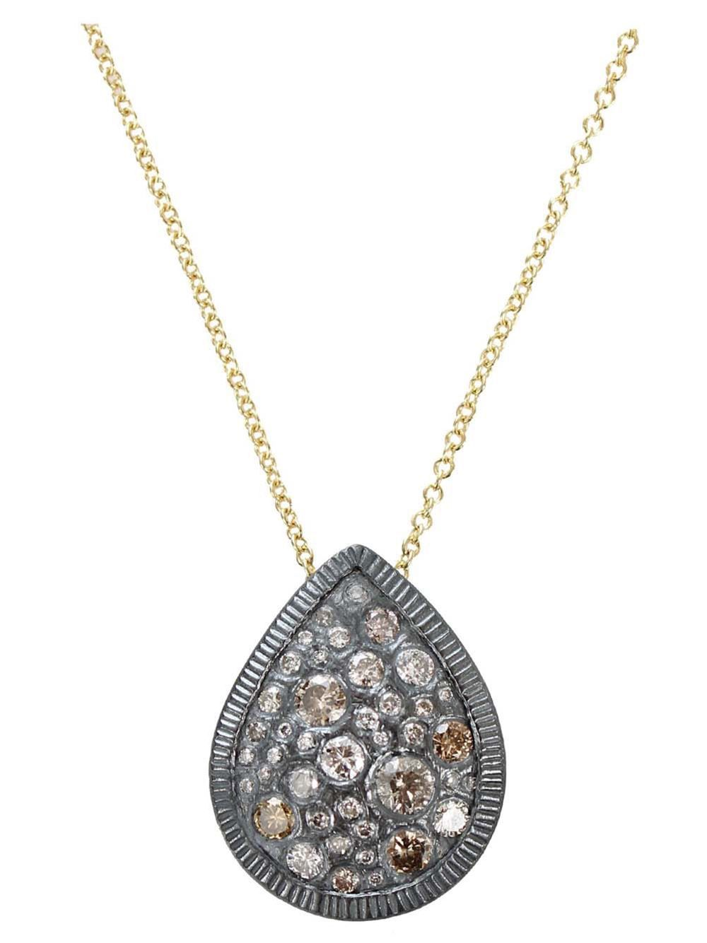 18K yellow gold and sterling silver teardrop pendant necklace from Todd Reed featuring diamond teardrop pendant with cognac diamonds.