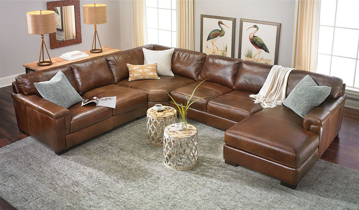 Top Grain Italian Leather Sectional With Right Side Chaise Living Room Leather Leather Sectional Leather Sectional Living Room