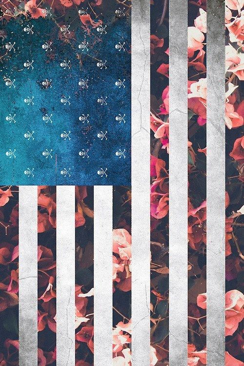 Floral Flowers American Flag W Skulls Cute Design From Tumblr American Flag Wallpaper Phone Wallpaper Wallpaper Backgrounds