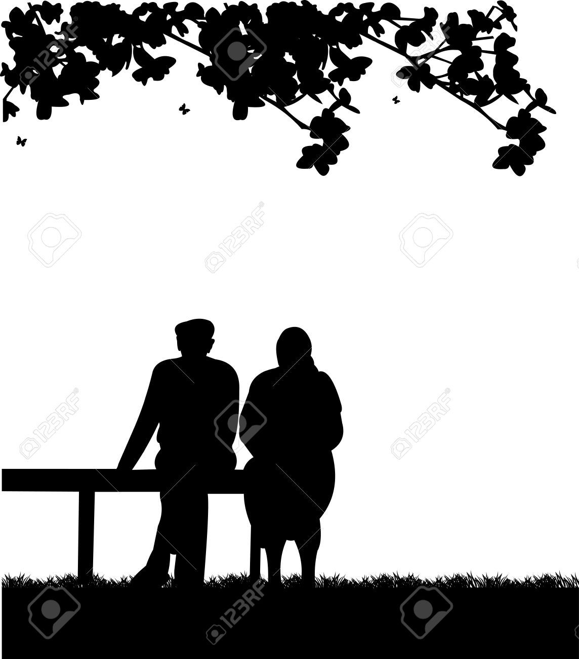 Very Old Couple Sitting On Bench In Park, One In The Series Of ..