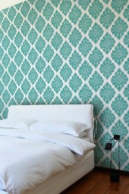 French Garden Damask Removable Wall Decal Teal Wish