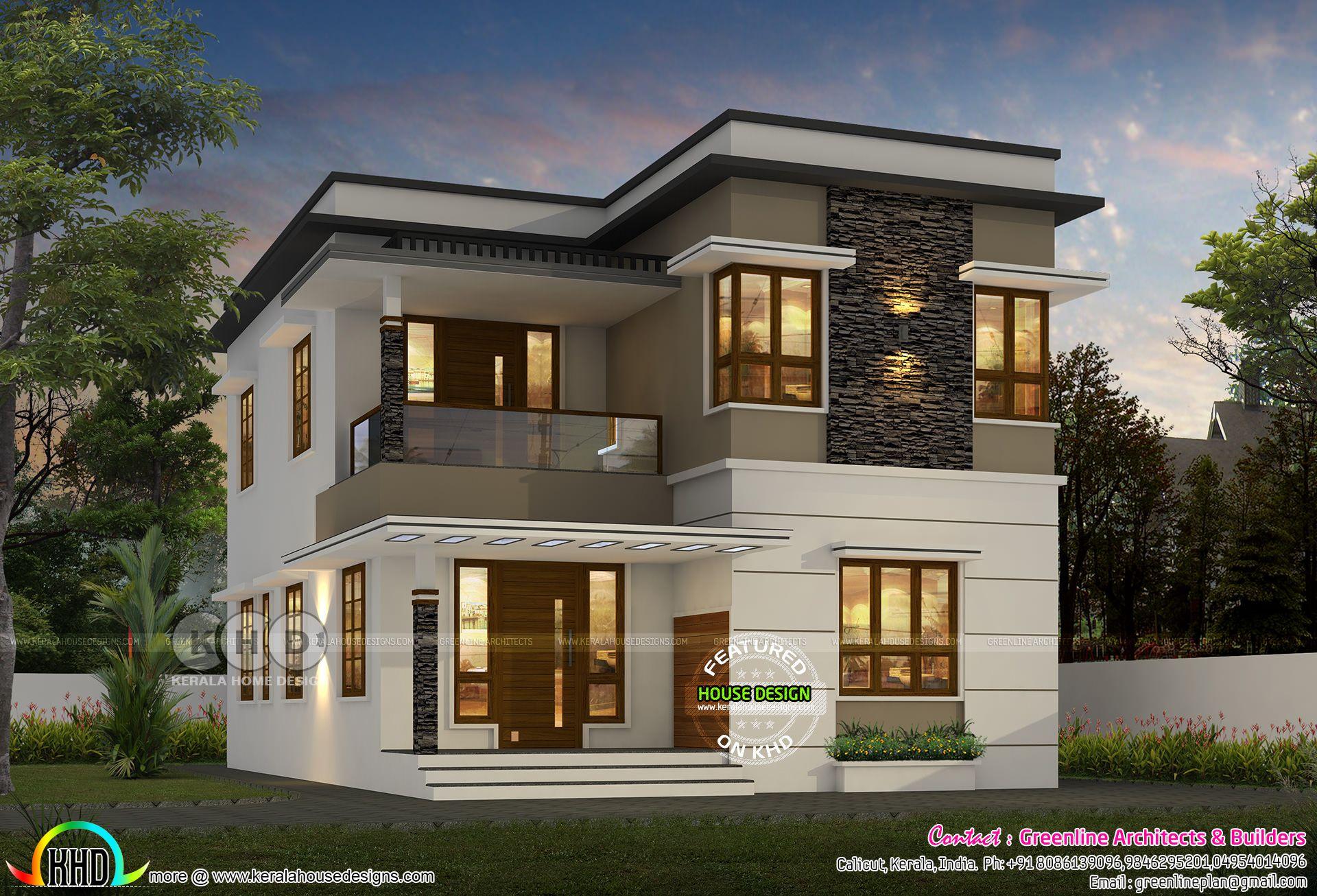 1600 sqft 4 bedroom modern flat roof house Flat roof