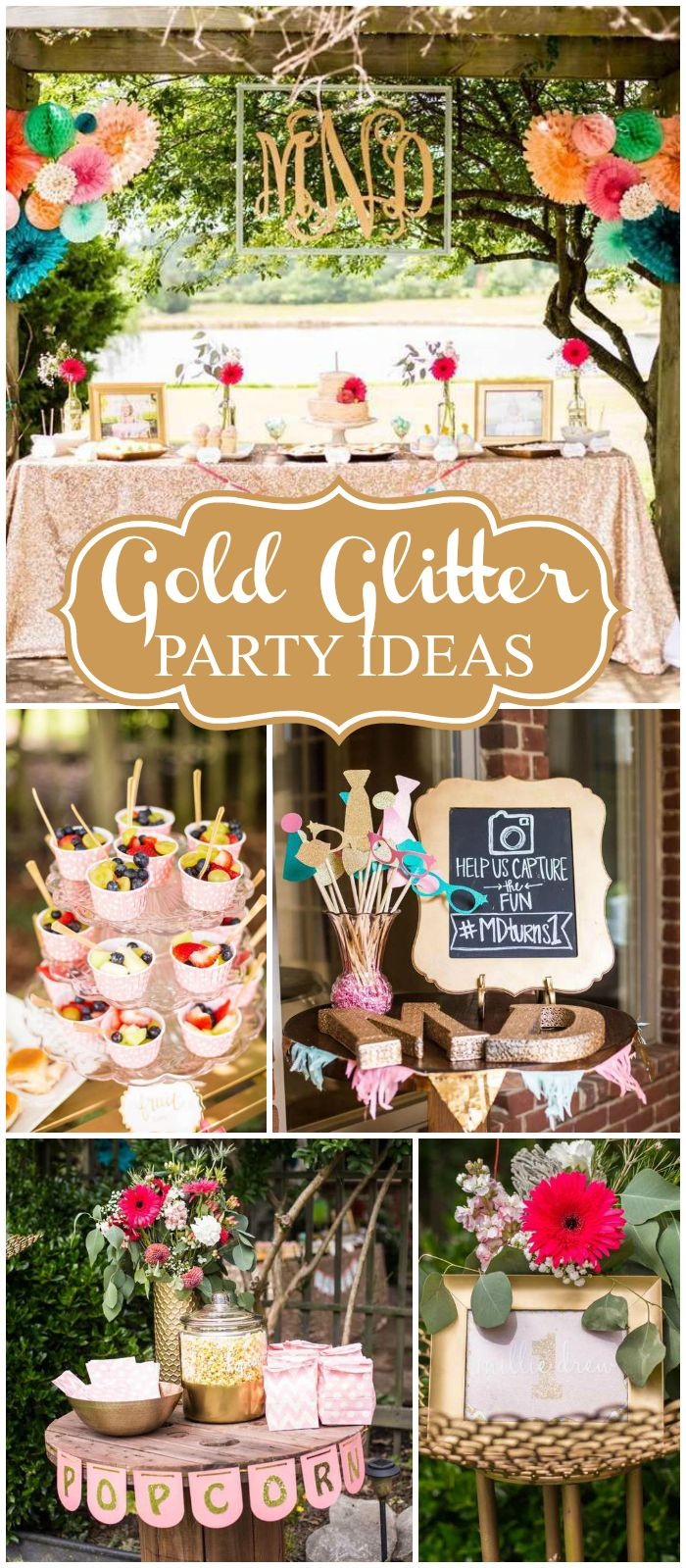 What A Gorgeous Glittery Outdoor Birthday Bash See More Party Ideas At Catchmyparty -2919