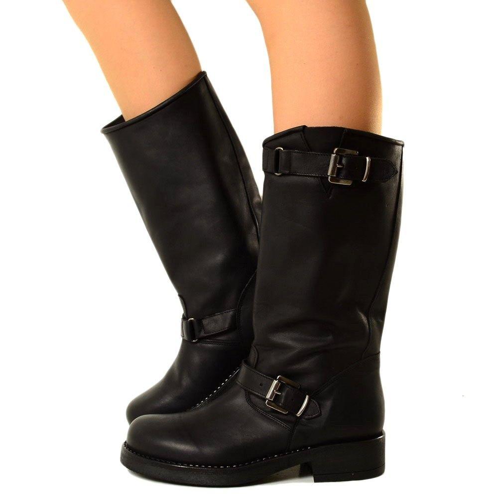 Stivali Donna Biker Boots in Vera Pelle Nera Made in Italy 40