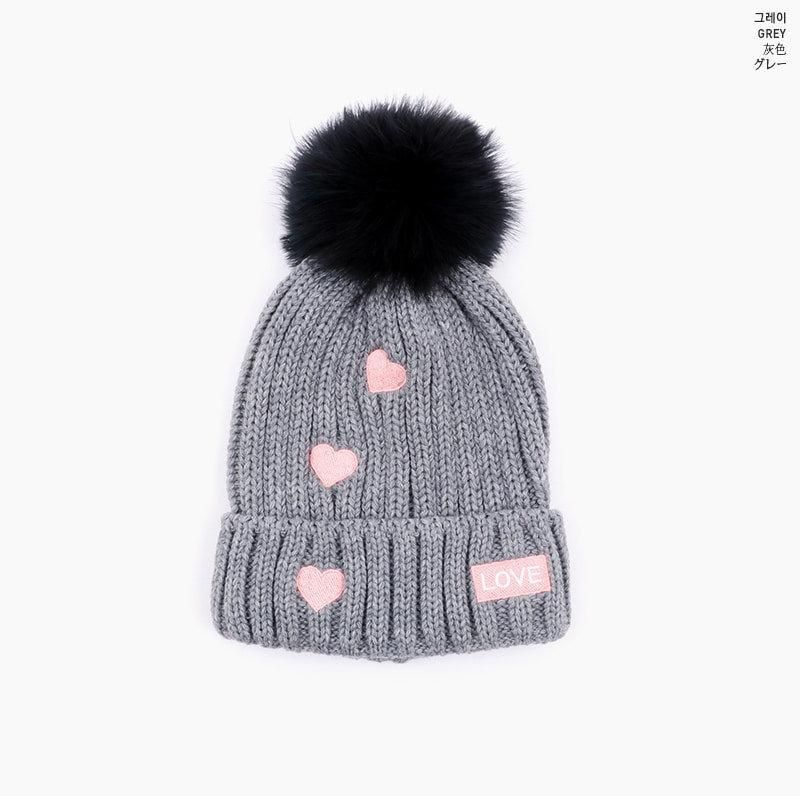 e434bd63486 Heart-Patterned w  Fluffy Pompom - 5 Color Beanie by Icecream12 ...