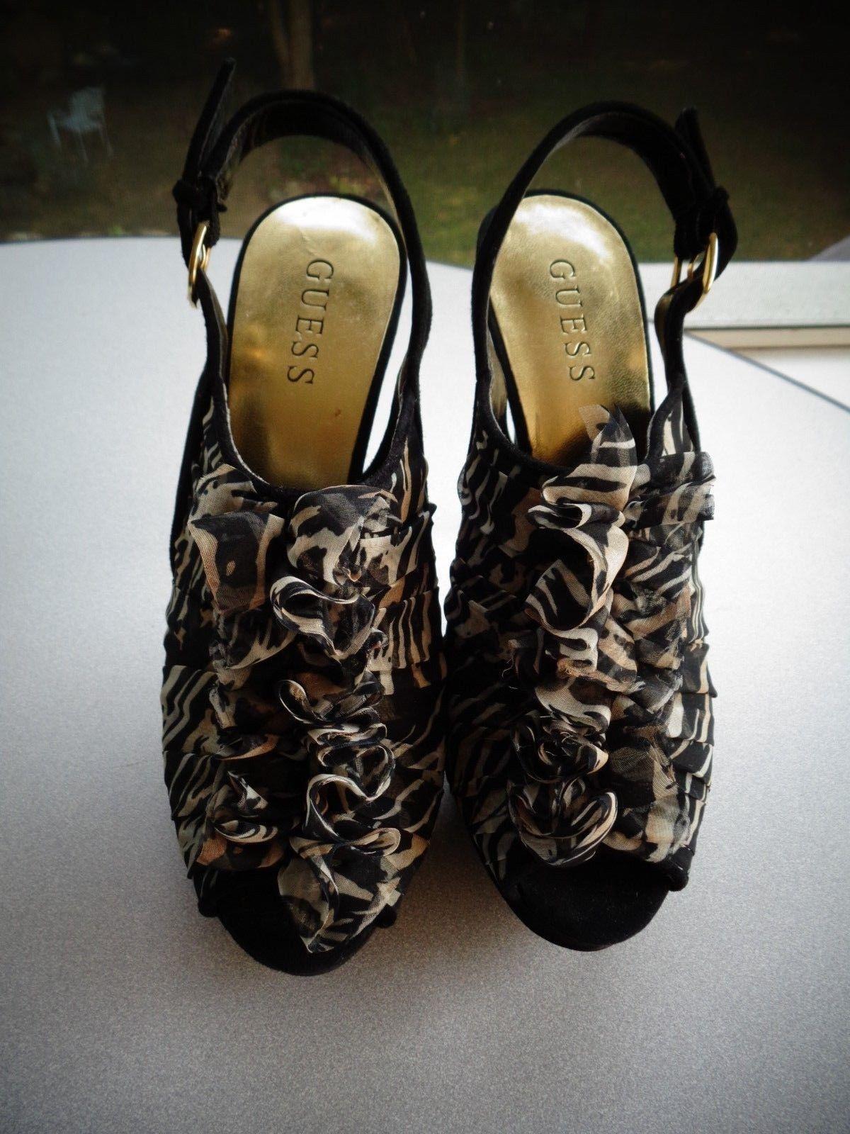 6c4c9ba4d3ae0 GUESS Kailua ~ Platform Sling-Back Heels Pumps Peep-Toe ~ Shoes Size 6.5