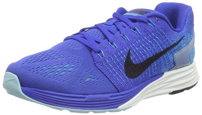 78b40417aefc Nike Men s Lunarglide 7 Game Royal Black Blue Lagoon Running Shoe 747355 401
