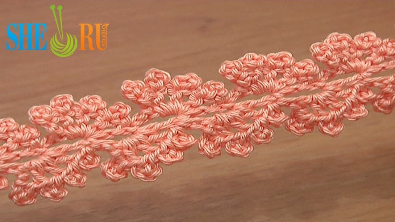 Crochet Lace Tape Ribbon with Picots How to Tutorial 23
