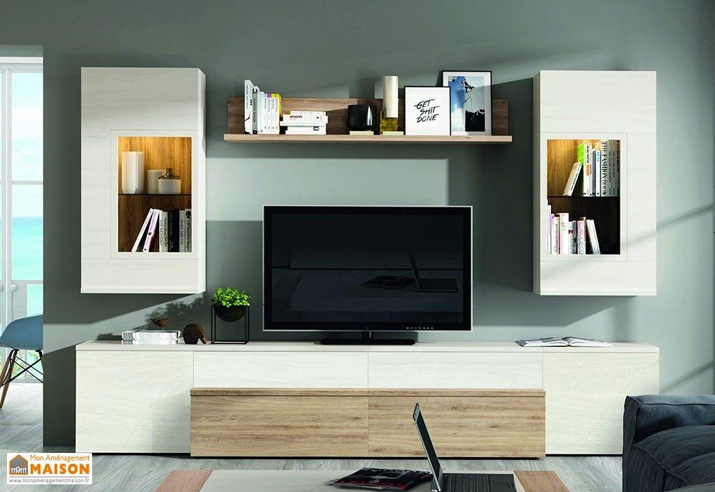 Meuble Salon Television Symetrique Aux Couleurs Blanc Et Chene 300 X 195 Cm Meuble Tv Design Meuble Tv Ensemble Meuble Tv