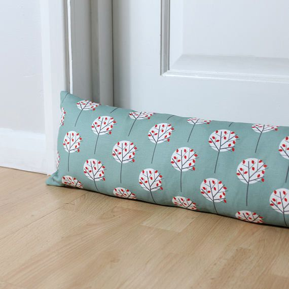 Draught Excluder Moonlight Tree Pattern Sea Green Fabric Etsy Tree Patterns Printing On Fabric Green Fabric