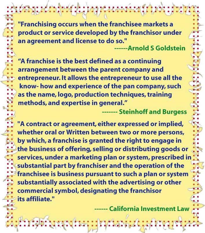 Definition Of Franchise By Various Author Franchising