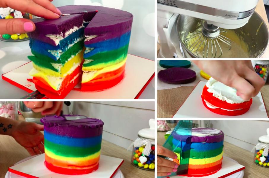 Le rainbow cake 3.5 (70%) 6 votes Comment faire pour surprendre vos invités au dessert ? Il faut faire un gâteau aussi beau que bon ! Avec cette délicieuse recette de rainbow cake, vos convives seront bluffés ! Ingrédients : 200g de beurre mou 200g de sucre en poudre 6 oeufs 400g de farine 1...