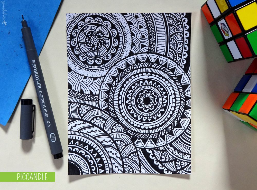 Easy Doodle Art Designs : Doodle circular pattern design by piccandle shapes colors