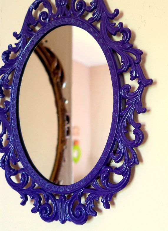 Vintage Regency Wall Mirror In Imperial Purple By Bonvieuxtemps 35 00