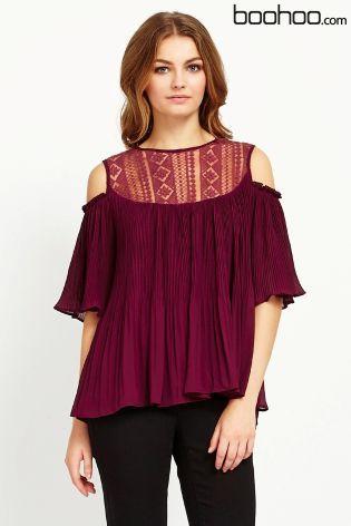 Buy Boohoo Elsit Lace Insert Cold Shoulder Smock Top from the Next UK online shop
