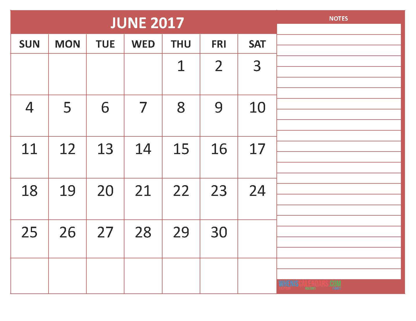 June Calendar Notes