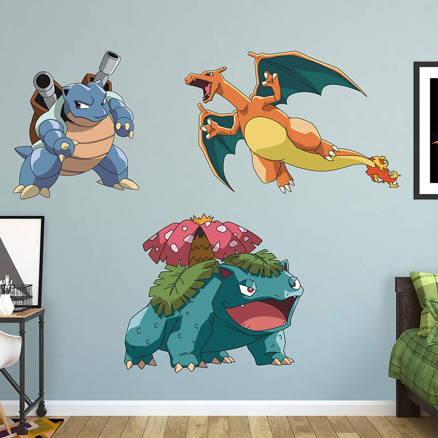 Fathead Peel And Stick Decals Pokemon Stage 2 Kanto First Partner RealBig  Collection Wall Decal