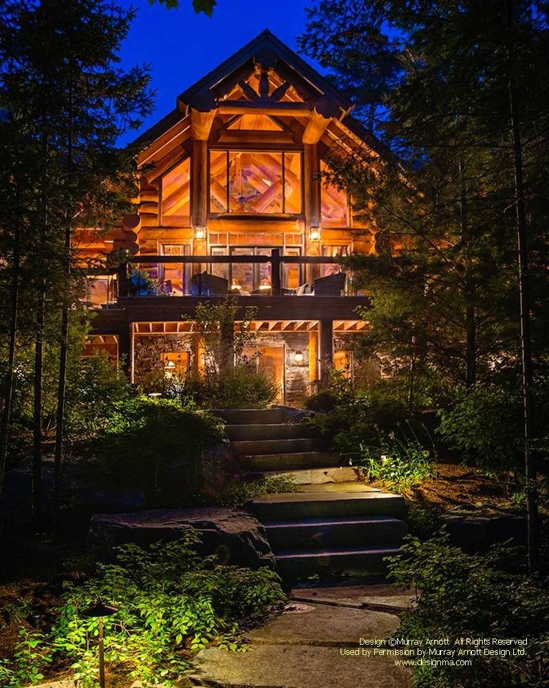 Handcrafted log home i designed on a lake in ontario for for Log home plans ontario