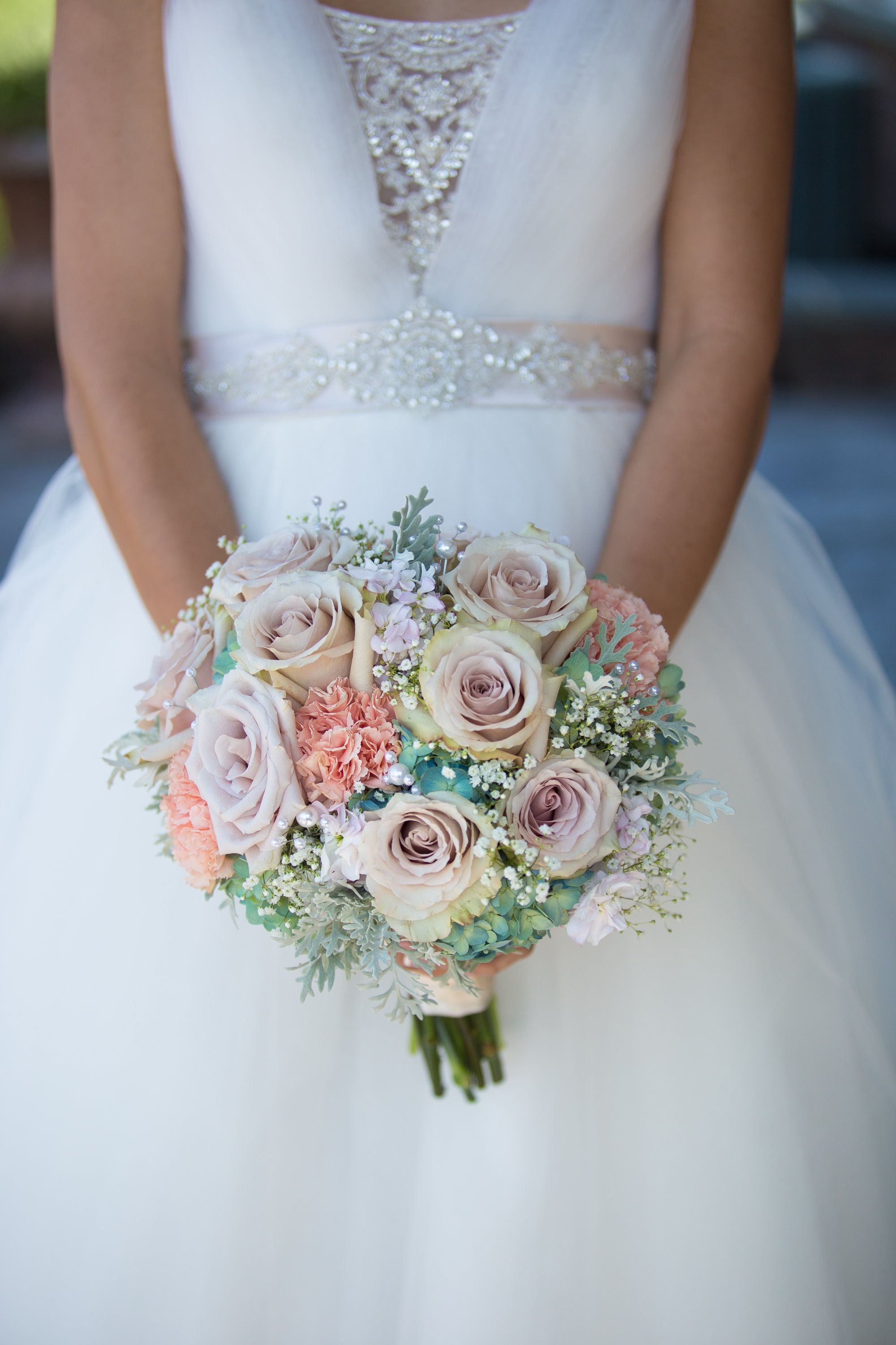 Hydrangea Quicksand Roses Peach Carnations Dusty Miller And