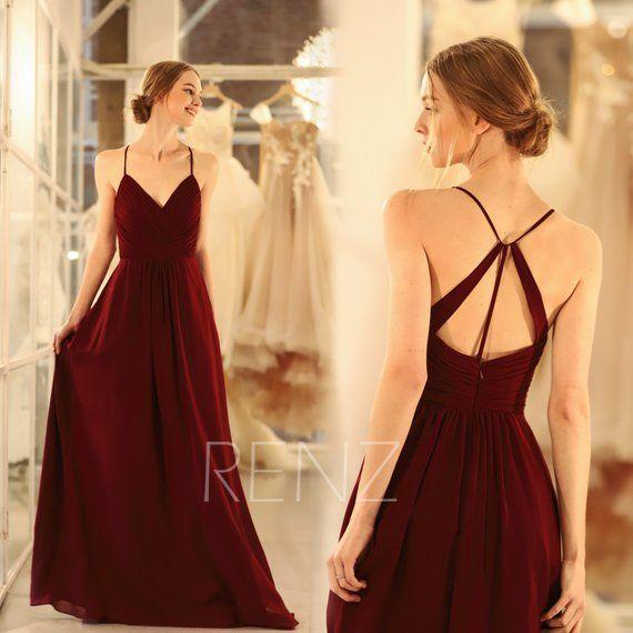 Bridesmaid Dress Wine Chiffon Dress Wedding Dress Spaghetti Strap Prom Dress V Neck Formal Dress A-Line Maxi Dress Ruched Party Dress(H289B)
