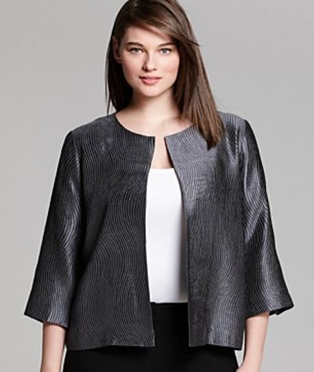 Eileen Fisher Plus Size Silk Evening Jacket
