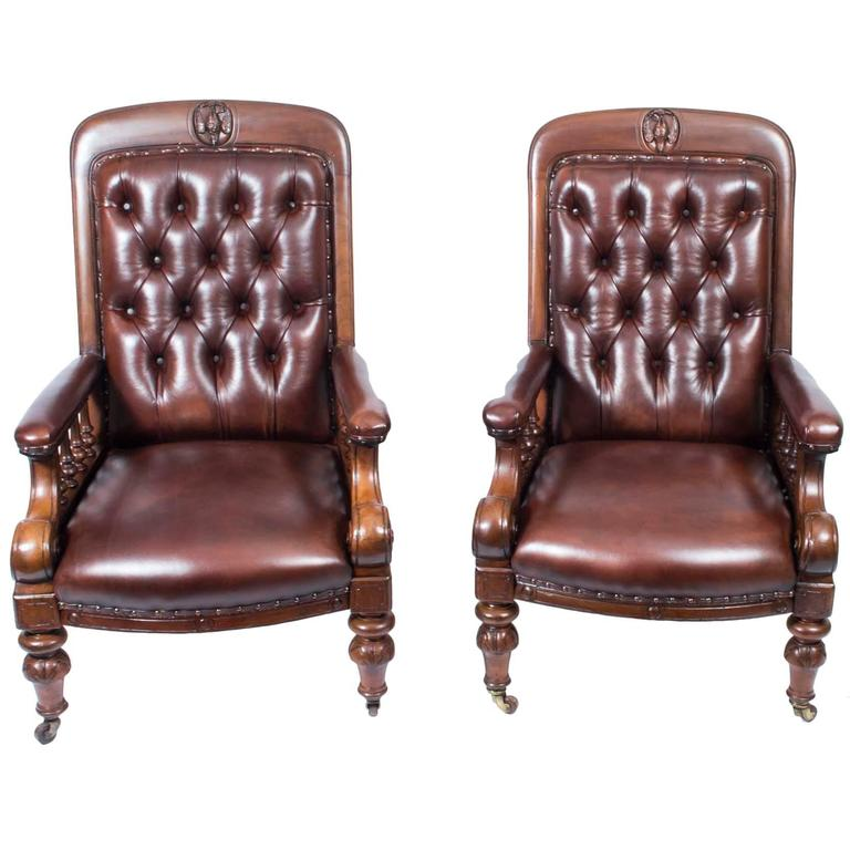 19th Century Pair of English Victorian Leather Armchairs #englishdresses1880