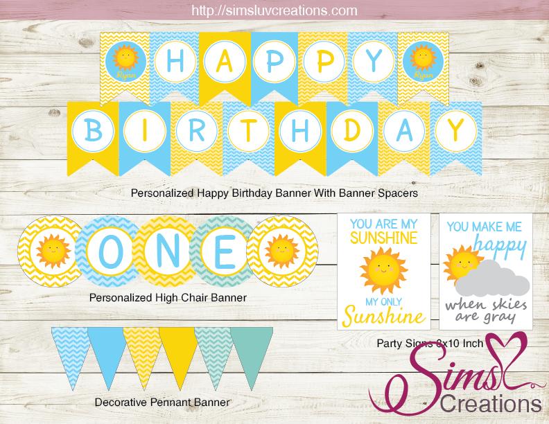 You Are My Sunshine Birthday Party Kit Sunshine Boy Party