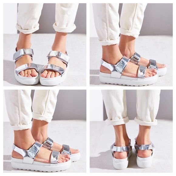 ea79a102ed Urban Outfitters Vagabond Irene Leather Sandals Urban Outfitters Vagabond  Leather Irene Silver Strap Sandal. Strappy sandals in premium leather