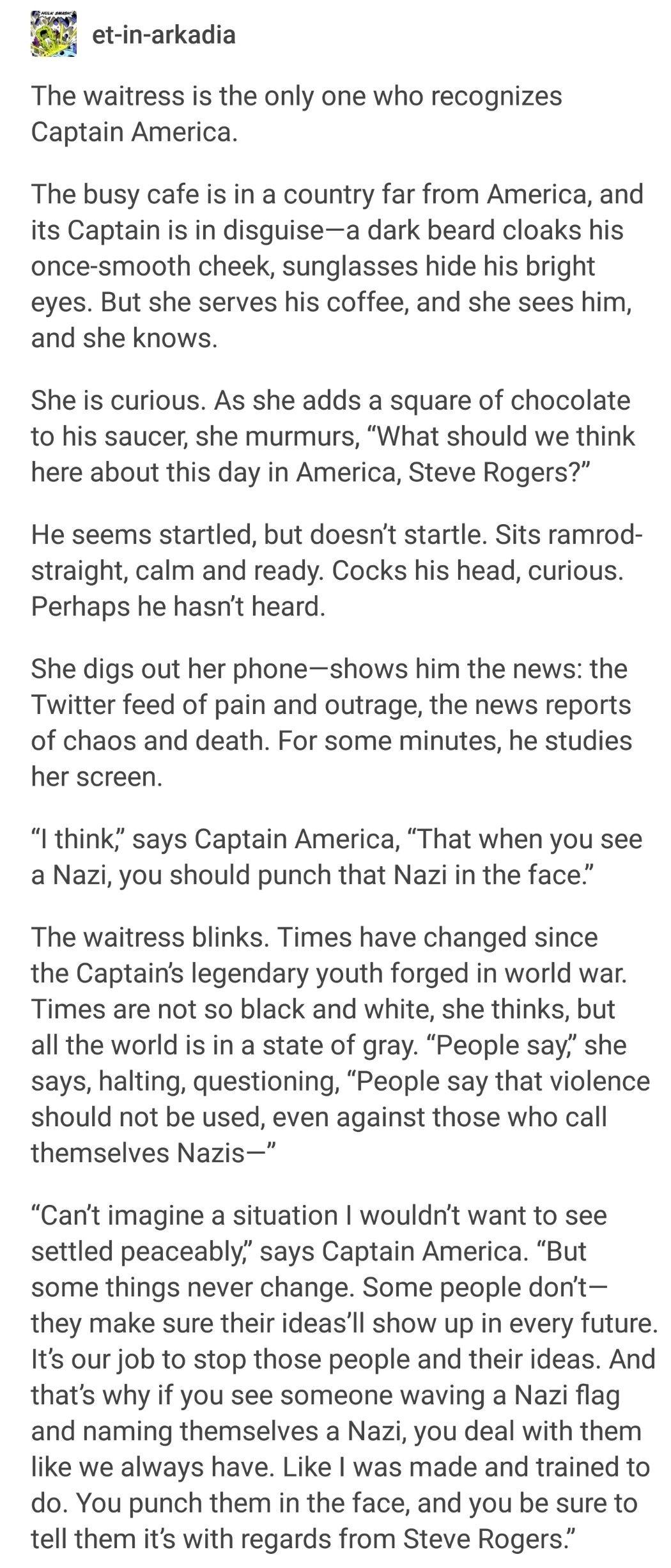 Steve Rogers is making Jack Kirby proud. #punchanaziintheface2k17