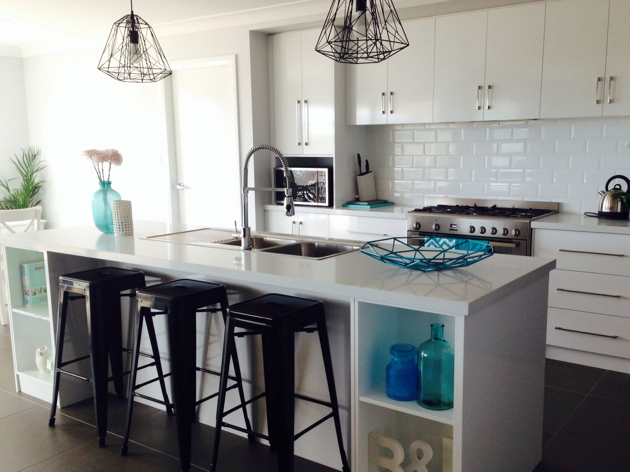 My Kitchen White Subway Tiles With White Stone Bench Tops