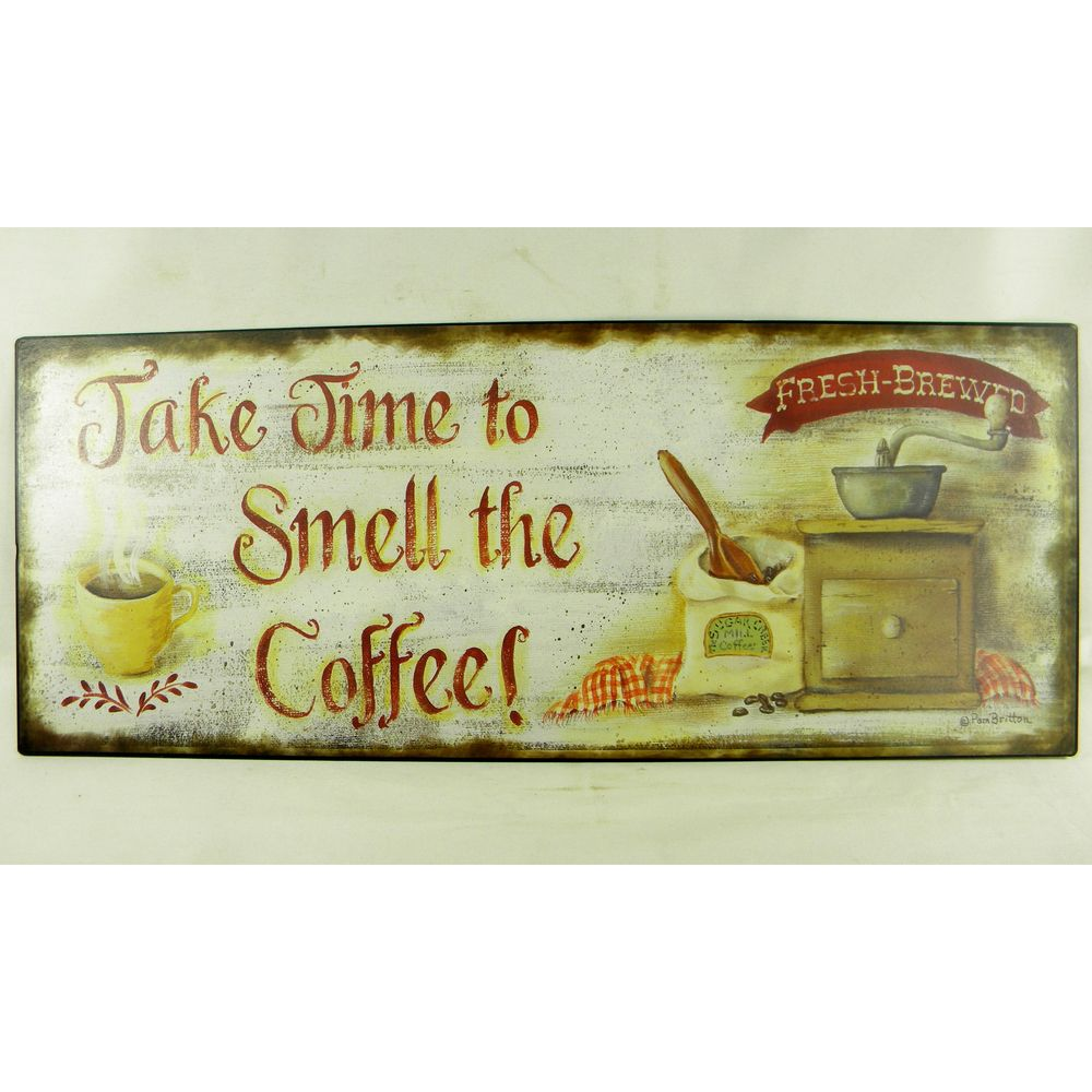 Vintage Style 'Smell the Coffee' Metal Sign | Overstock.com