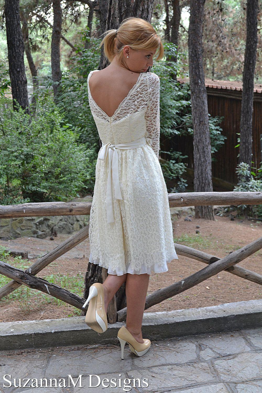 Short Wedding Dress, 50s Ivory Dress, Sleeve Bridal Dress
