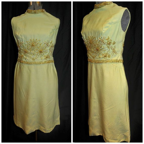 Vintage 1960's / Linen Beaded Dress / Floral by CicelysCloset