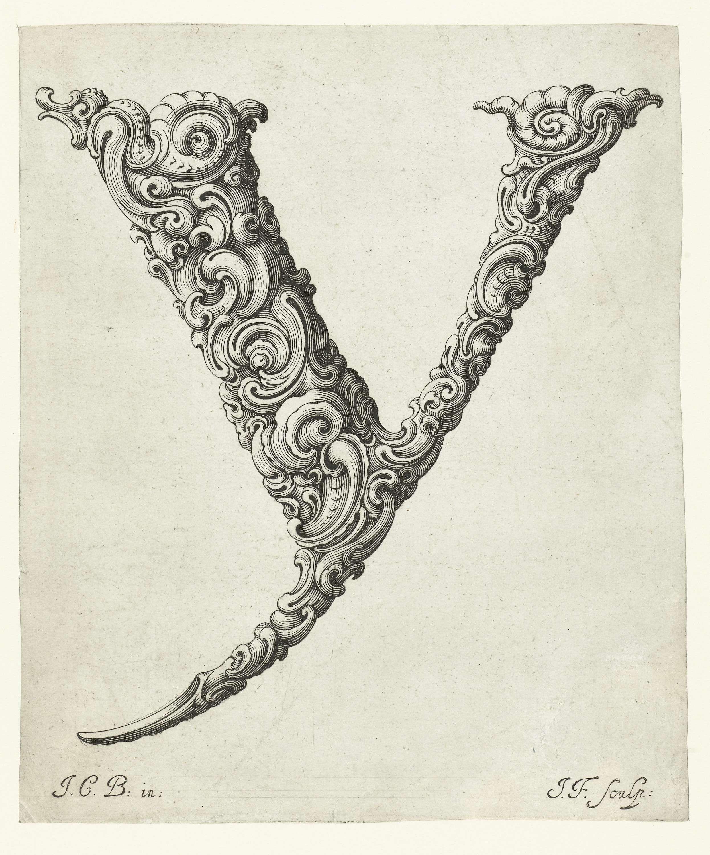 Jeremias Falck   Letter Y, Jeremias Falck, Anonymous, c. 1645 - c. 1650   Blad met de letter Y uit serie van 26 bladen met letters uit het alfabet.
