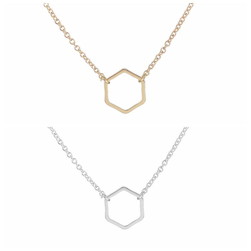 Jisensp New Fashion Geometric Hexagon Necklace for Women Simple ...