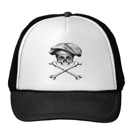 Skull and Crossbones Chef Hat. Black and white chef skull and crossbones wearing traditional, puffy style chef hat.