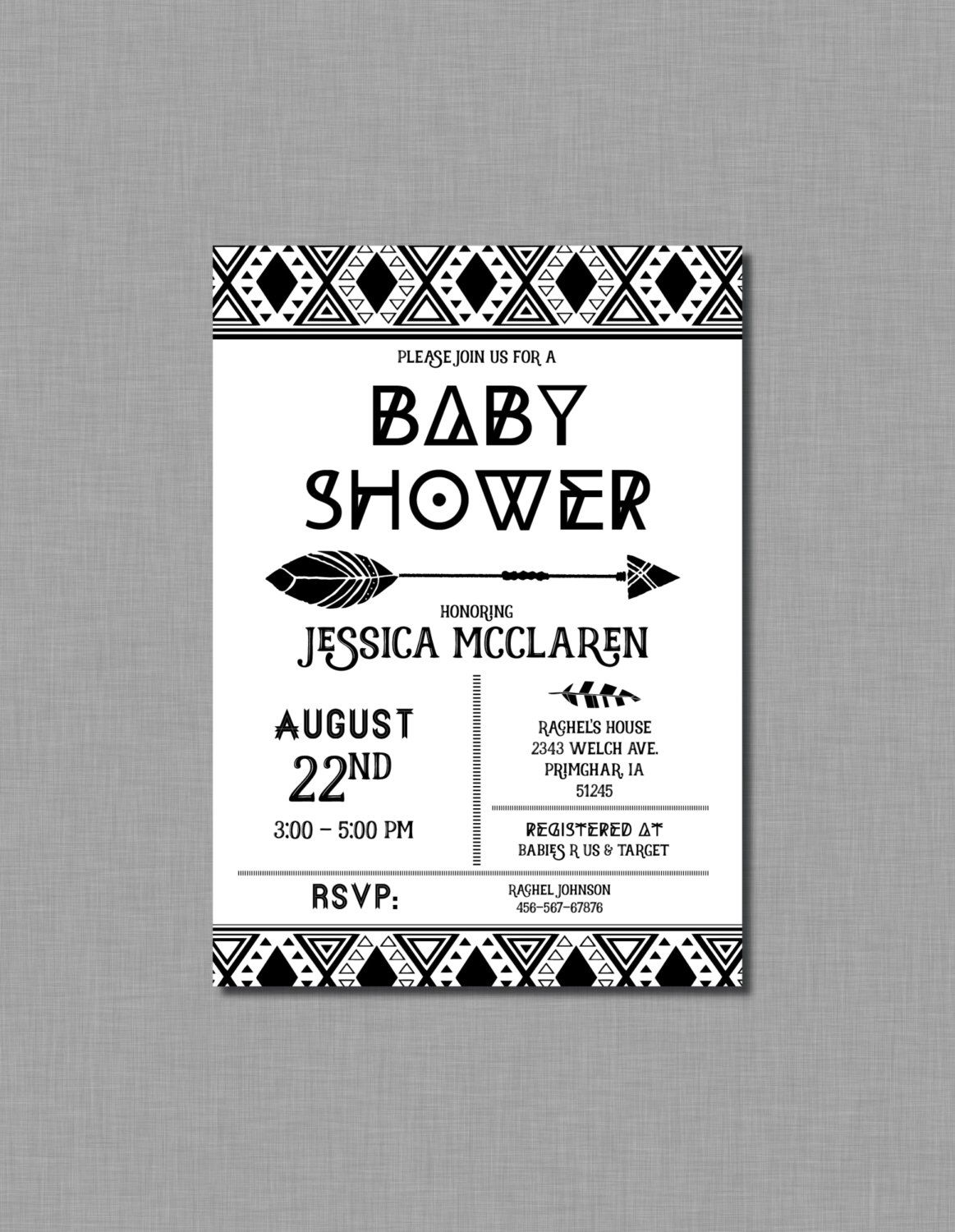 Black and White Baby Shower Invitations Aztec Baby Shower ...