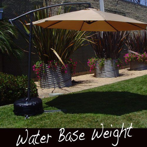 Offset Umbrella Base Stand Weight - Works Also for Market Umbrella (BLACK) by UmbrellaWaterWeight. $59.77. Soft sided design avoids broken toes and sprained ankles.. 7 minute install - Just fill with water!!!. Weigh down your offset and market umbrella conveniently and easily with our heavy duty water base inflatable. Made from Heavy Duty 18 ounce Vinyl.. Universal design fits all offset umbrellas and market umbrellas.. Easy to store in the winter. No storage of large ...