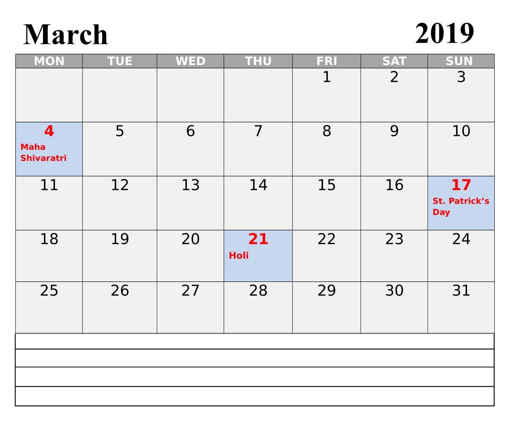 March 2019 Calendar With Holidays Usa And Canada 2019 Calendar