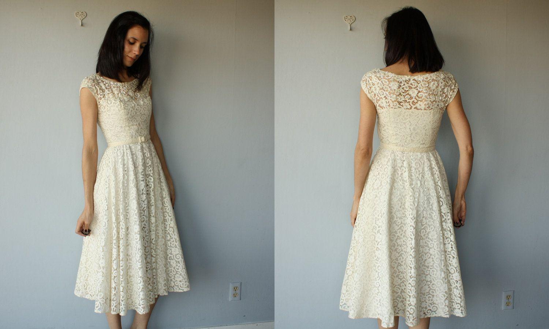 1950s lace dress  s party dress  s dress  Ivory Cutwork Lace dress  s