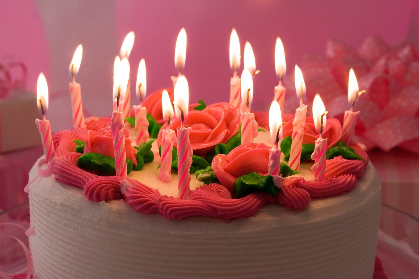 Birthday Cake ~ PINK ROSES \u0026 CANDLES  GIRL in 2019