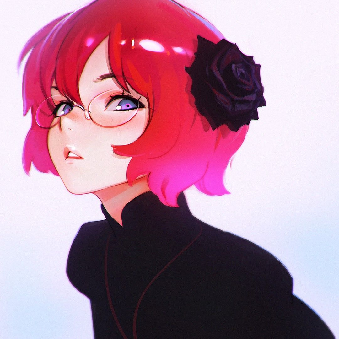 Anime 1080x1080 Anime Anime Girls Short Hair Redhead Purple Eyes Glasses Ilya Kuvshinov Anime Art Anime Artist