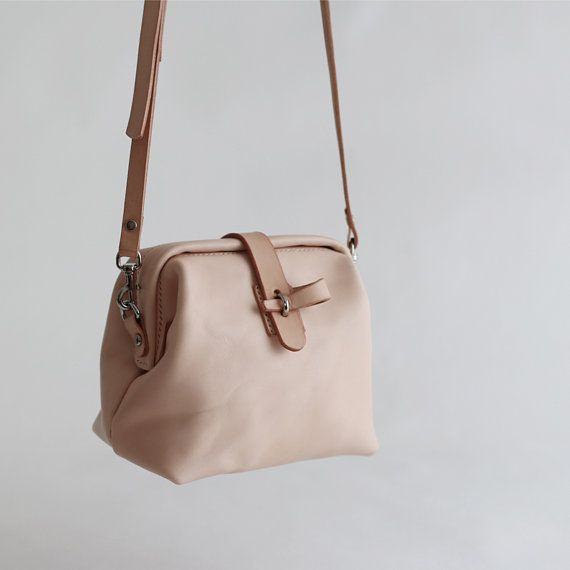 Nude leather bag women doctor bag women minimalist от OrisDesigns